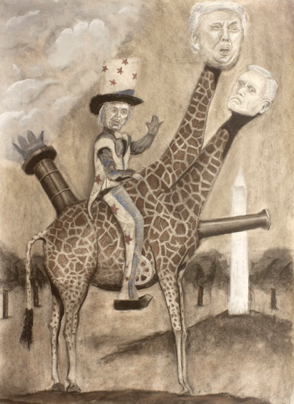 """""""Auntie Hilary Rides Trump to Victory"""", charcoal, graphite, pastel, conte on paper, 24"""" x 18"""", 2016 David Ondrik"""