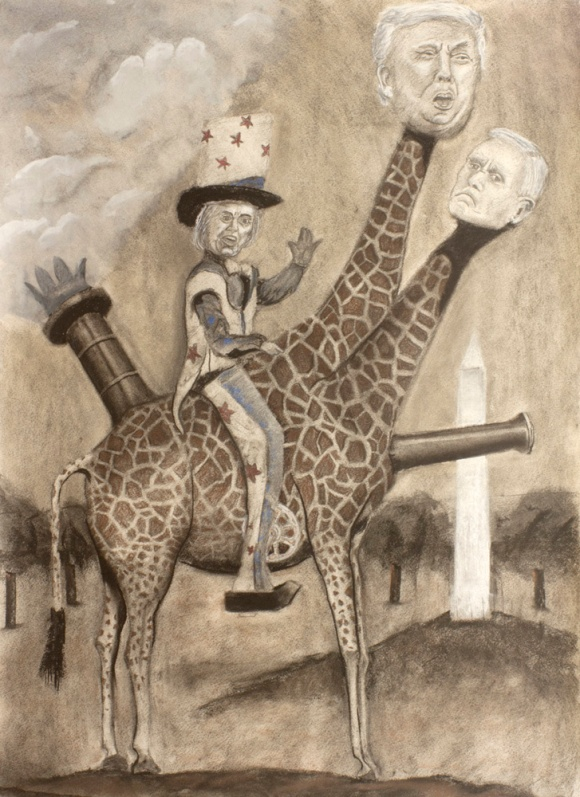 """Auntie Hillary Rides Again,"" graphite, charcoal, conte, quache on paper, 27"" x 19.5"", 2016 David Ondrik"
