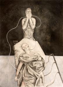 """Life Support,"" graphite, charcoal, ink, quache, conte on paper, 27"" x 19.5"", 2016 David Ondrik"