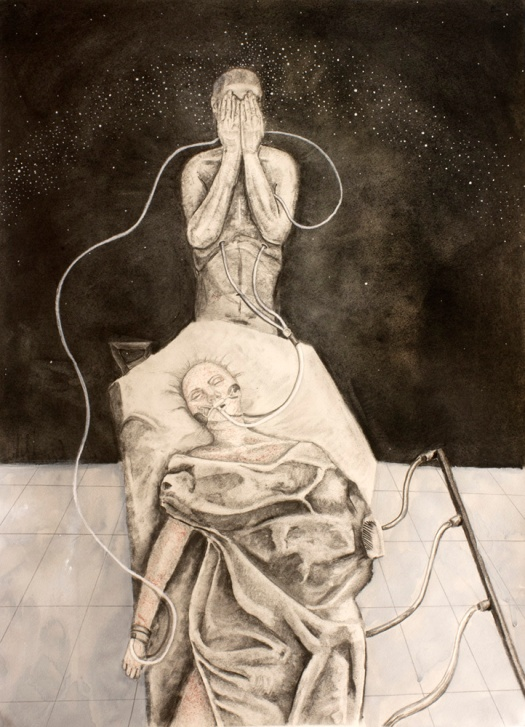 """Life Support,"" graphite, charcoal, ink, quache, conte on paper, 27"" x 19.5"", 2016 David Ondrik"