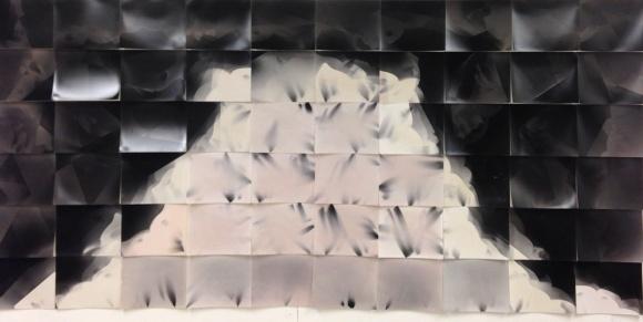"""Probability,"" 60 unique unfixed gelatin silver prints, 48"" x 100"", 2016 David Ondrik"
