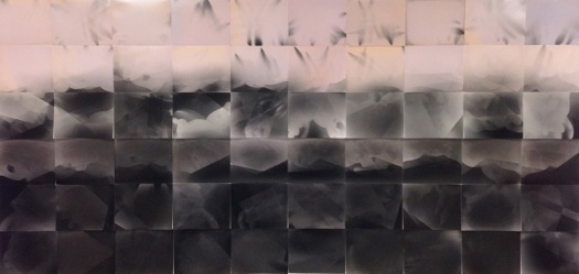 "Tidal wave, 60 unique unfixed gelatin silver prints, 48"" x 100"", 2016 David Ondrik"