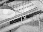 "Kraig W., Interior Architecture, graphite on paper, 18"" x 24"""