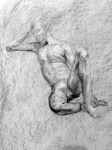 "Helen T., Figure Drawing, charcoal on paper, 18"" x 24"""