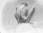 "Yuki Z., Figure Drawing, charcoal on paper, 18"" x 24"""
