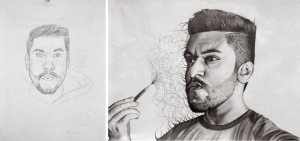 Dhaval, Self Portrait, graphite on paper, 2017