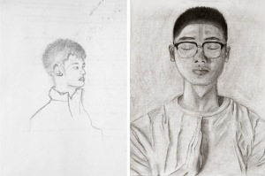 Dong, Self Portrait, charcoal on paper, 2017