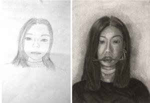 Nadia, Self Portrait, charcoal on paper, 2017