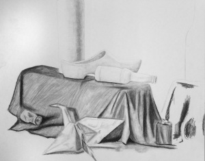Kate S, Still Life, Pencil & Charcoal, 2017