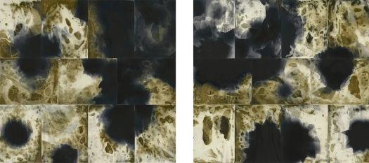"""Erosion I & II, unique fixed gelatin silver prints, 28"""" x 64"""", 2018, &copy David Ondrik"""